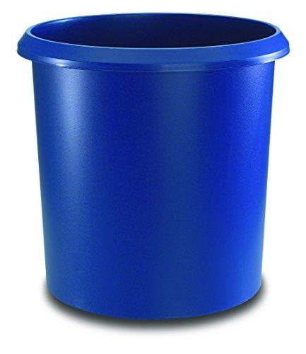 Läufer 26605 Papierkorb Allrounder 18 Liter, blau, rund, Mülleimer mit Griff, stabiler Kunststoff