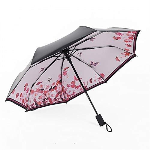 LIHAITAO,Automatische Anti-Uv für Frauen GeschenkWinddicht Sun Rain Ladies Umbrellas,Makeup Powder