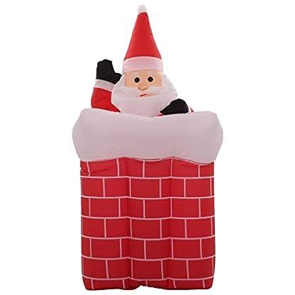 UnfadeMemory Papá Noel y Chimenea con Movimiento y LED,Muñeco Inflable Navidad,Decoración Ideal para Su Jardín o Casa Durante Navidades,Decoración para Navidad,Altura 180cm