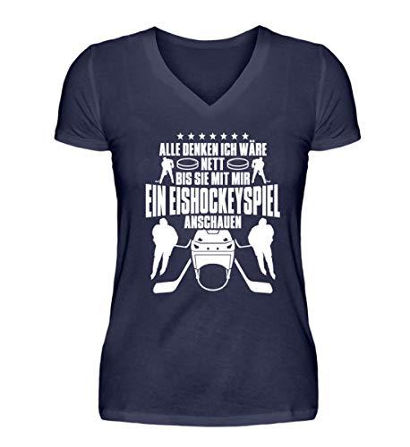 Shirtee Alle Denken ich wäre nett, bis sie mit Mir EIN Eishockeyspiel ansehen. Eishockey Eishockeyfan Mann Frau Geschenk - V-Neck Damenshirt -XXL-Dunkel-Blau