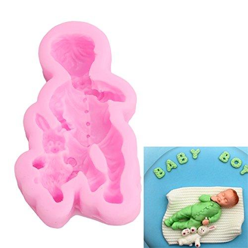 ODN 3D Baby Silikon Ausstechform Fondant für Tortenrand Deko Backform Kuchenform,Rosa (Kleiner Junge)