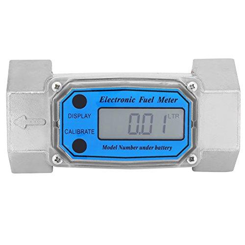 Elektronisches Turbinen Folw Meter, Aluminiumdigital Dieselkraftstoff Turbinen Durchflussmesser mit Digital-LCD-Anzeige,15-120L 1.5inch NPT, Blau (Elektronische Durchflussmesser)