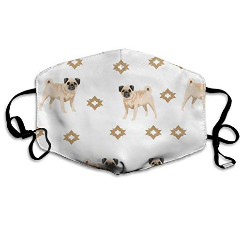Bentonit-ton Reinigung (Mops-Schutzmaske, wasserfarben, für Hundeliebhaber, Geschenk für Mops, Anti-Staub-Maske, Anti-Verschmutzung, waschbar, wiederverwendbar, Weiß)