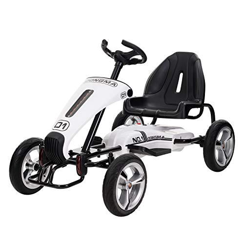 UEnjoy Pedal Go Kart Elektro Tretauto 12V Kinderfahrzeug für Kinder mit Gaspedal,Verstellbarer Sitz,Lenkrad,Weiß