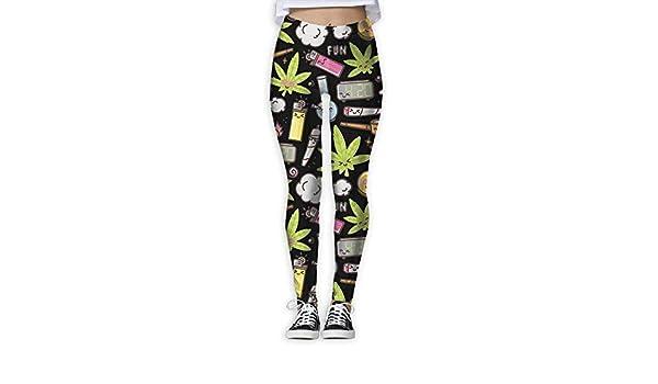 QIAOJIE-High Waist Ultra Soft Lightweight Leggings Cute Weed Leaf Pot Cannabis Funny Girls Exercise Stretch Footless High Waist Leggings Pants