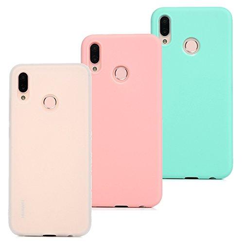 3 x Hülle für Huawei P20 Lite Case, Beaulife Einfarbig Weich Silikon Gel Case Ultra Slim Cover Anti-Fingerprint Schutzhülle Sehr Dünn Handyhülle für Huawei P20 Lite - Weiß/Rosa/ Minzgrün Silikon Gel Case