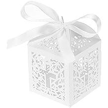 Decdeal - 50x Cajas con Cintas de Ceramelos / Chocolates / Regalos para Boda Fiesta, Color Blanco Nacardo