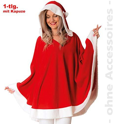 Kostüm Claus Miss - Unbekannt Miss Santa Claus Kapuzenponcho Nikolausin Nikolaus Damen Kostüm