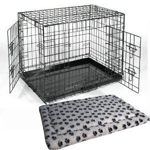 "Small 24"" Black Metal Dog Training Cage Carrier including Luxury Fitted Bedding"