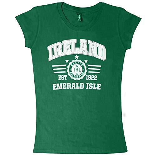 FashionFlo Damen Irland Grafik Baumwolle T-Shirt - Smaragdgrün Insel Grün, M