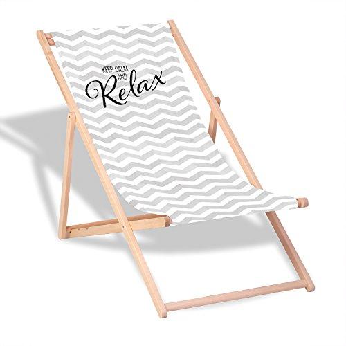 """Queence Dekorativer Holz-Liegestuhl   """"Keep Calm""""   klappbar   Gartenliege   Strandliege   Sonnenliege   Gartenmöbel   120x60 cm   Verschiedene Motive, Größe:ca. 120x60 cm"""