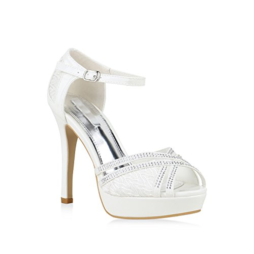 Damen Plateau Sandaletten High Heels Lack Metallic Party Schuhe 155568 Weiss Agueda 38 Flandell