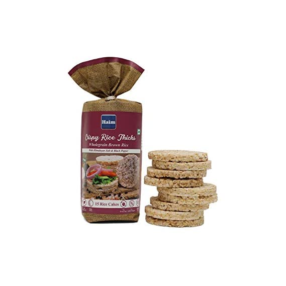 Haim Organic Crispy Rice Thicks Wholegrain Brown Rice Cakes with Himalayan Salt & Black Pepper (15 Rice Cakes/Packet) Pack of 2
