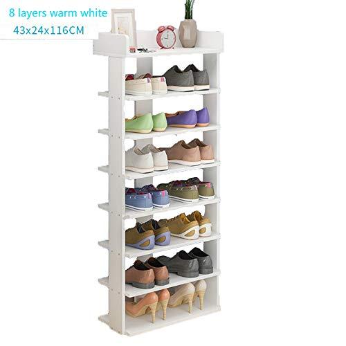 Schuhregal, 6-Stöckige Schuh-Regal-Regale Schlaf Schuhe Regal Schuhregal Rack,White,8Layers