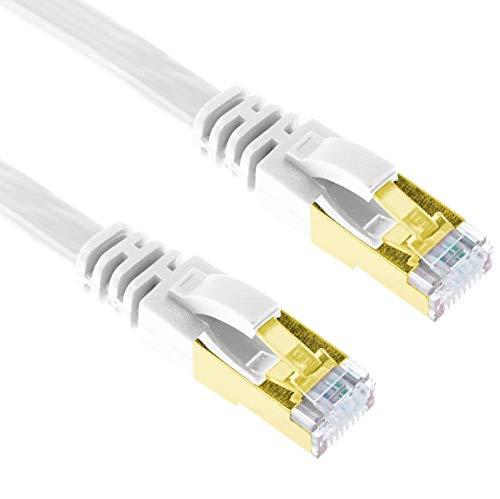 G-Shield 2m Cat7 Ethernet LAN Kabel 10 Gigabit 600MHz RJ45 Flachkabel - 2 Meter Weiß Flat Component-video-kabel