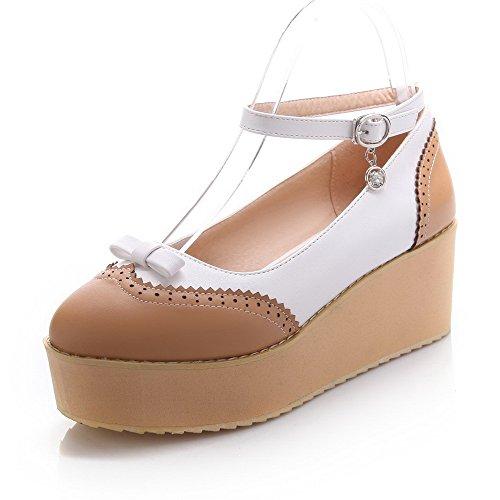 Pu Mélangées À Chaussures Correct Rond Voguezone009 Légeres Brun xrwxfqFBzW