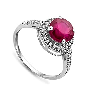 Miore Ruby Ring, 9ct White Gold, Diamond Setting, Size L, JM021R1WM