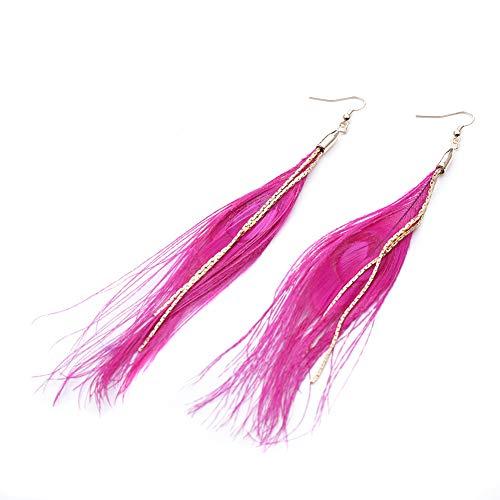 iSpchen Böhmische Feder Quaste Ohrringe Mode Anhänger Langer Faden Quaste Tropfen Baumelnden Haken Ohrringe Ohrring Frauen Damen Geschenk Schmuck Zubehör Rose Rot EINWEG
