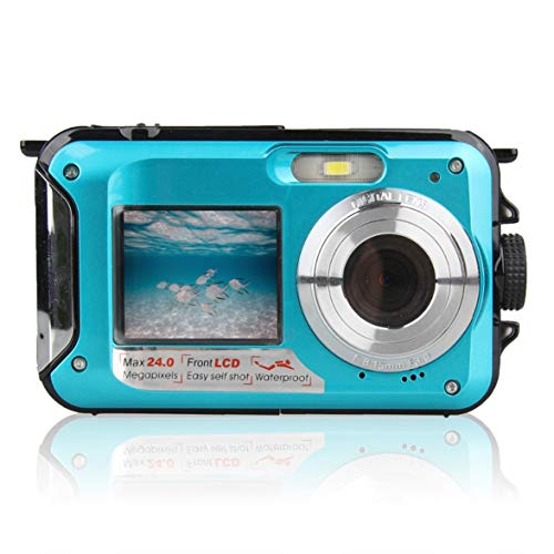 Kongqiabona Double Screen Underwater Camera HD Waterproof Photo Shooting Video Recording Sports Diving LED Flash Digital Video Camera Underwater Digital Video Camera