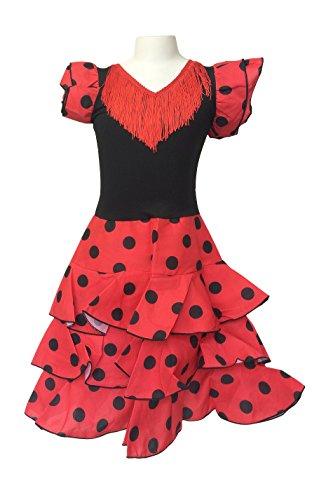 La Senorita Spanische Flamenco Kleid Niño Deluxe / Kostüm - für Mädchen / Kinder - Rot / Schwarz (Größe 92-98 - Länge 65 cm- 3-4 (Mädchen Flamenco Kostüme)