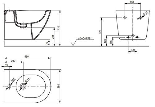 TOTO NC Bidet BW762Y wandhängend mit Hahnloch und Überlauf Keramikoberfläche CeFiONtect
