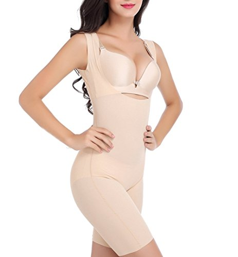 TININNA Damen Unterbrust Shapewear Strampler Body Shaper Jumpsuit Korsetts Trainings Taille Abnehmen Figurformender Taillenkorsett Bauchweg Bodyformer Miederhose Miederbody Körperformer Miederslips XXL Nude Ärmellos (Gummi Taillenkorsett)