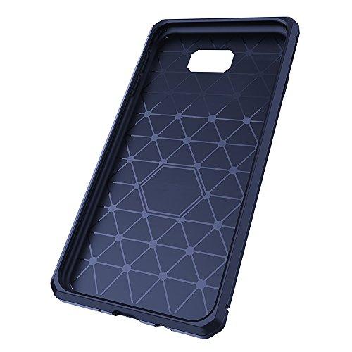 Für Samsung Galaxy J5 Prime Case gebürstet Lines Texture Cartoon Faser Durable Anti-Rutsch TPU Cover Schock Absorbtion Schutzmaßnahmen zurück Deckung ( Color : Black ) Dark Blue