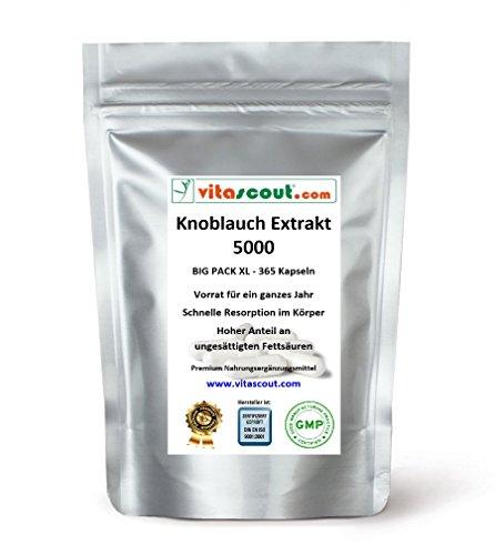Knoblauch 365 Kapseln je 5000mg (=Extrakt 50mg 100:1) HOCHDOSIERT / Garlic - PREMIUMQUALITÄT von VITASCOUT®