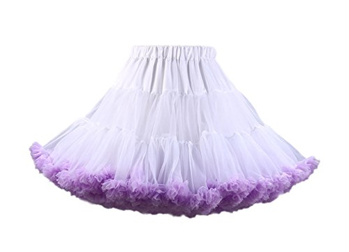 Honeystore Damen Mädchen Kinder Tanzen Ballett Tutu Rock Ballett Pettiskirt Prinzessin Tanz Röckchen Tutu Kostüme Weiß und Violett One Size (Kind Rockstar Kostüm Ideen)