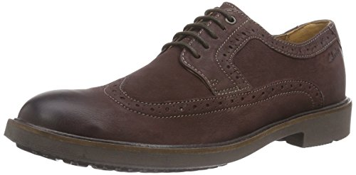 Clarks Men's Wahlton Wing Brogue Lace-up Half Shoe Brown Size: 10