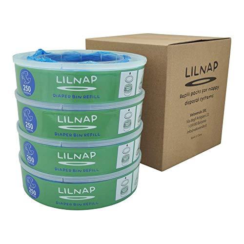 LILNAP - Recambios para el contenedor de pañales Angelcare - recarga multicapa con tratamiento EVOH antibacteriano (4 recargas)