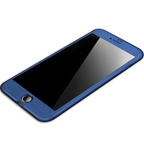iPhone 6/6s 360 Degres + Protection en Verre Trempé, [360 °] [Or Rose]Coque de protection avant et arrière cases iPhone 6/6s Integrale pour iPhone 6/6s Bleu