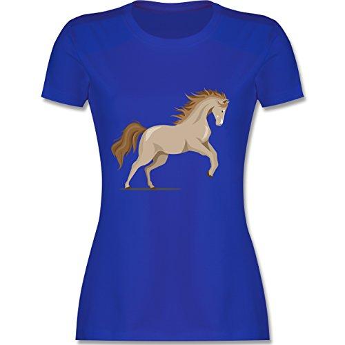 Shirtracer Pferde - Steigendes Pferd - Damen T-Shirt Rundhals Royalblau