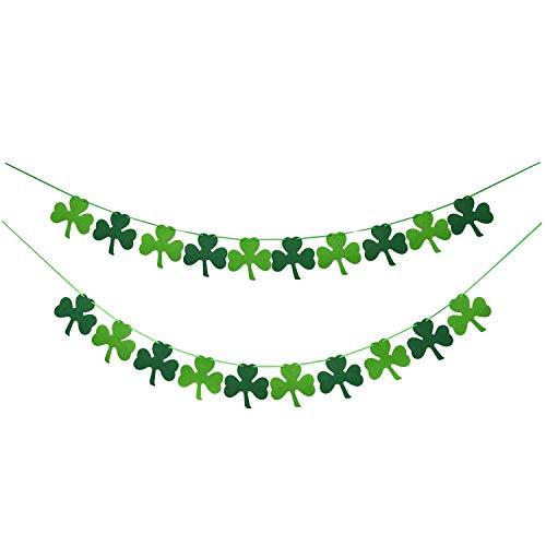 Girlande aus Filz, Kleeblatt, Kleeblatt, zum Selbermachen - St. Patrick 's Day Banner, Dekoration, St. Patrick 's Day Girlande, Dekoration - irische Party, Grün und Hellgrün