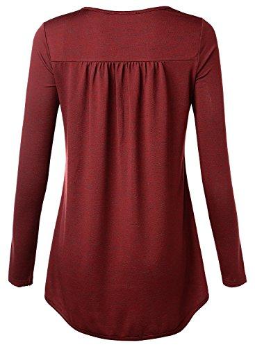 DJT Damen Casual Bluse Langarm T-Shirt Tops mit V-ausschnitt Weinrot