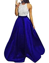 LILICAT Women Ladies Sequins Evening Dress Ladies Halter Sling Glitter Dress Formal Prom Party Ball Gown