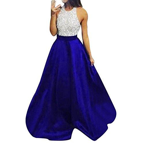 Hevoiok Damen Formales Abschlussball-Partykleid Sexy Halfter lange Maxi Kleider Frauen Mode Elegant Pailletten Ärmellos Cocktailkleid (Blau, S)