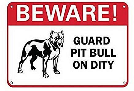 Kysd43Mill Vorsicht! Schild mit Aufschrift Guard Pit Bull On Duty Haustier Hinweisschild, Warnschild, Warnschild, Warnschild, Hauseigentum, Hofschild, Hinweisschild -