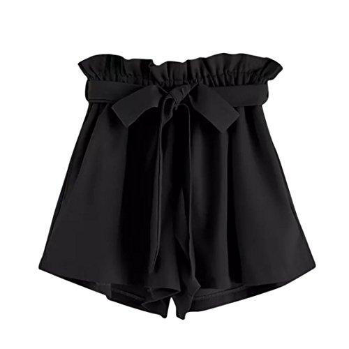 UFACE Frauen-Normallack-Breites Bein Keucht Frauen-Retro- Feste zufällige geeignete Elastische Taillen-Taschen-Kurzschluss-Hosen (L/(42), Schwarz) (Lammfell-tasche)