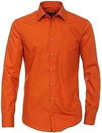 Venti Hemd Kupfer Uni Langarm Slim Fit Tailliert Kentkragen 100% Feinste Baumwolle Popeline Bügelfrei