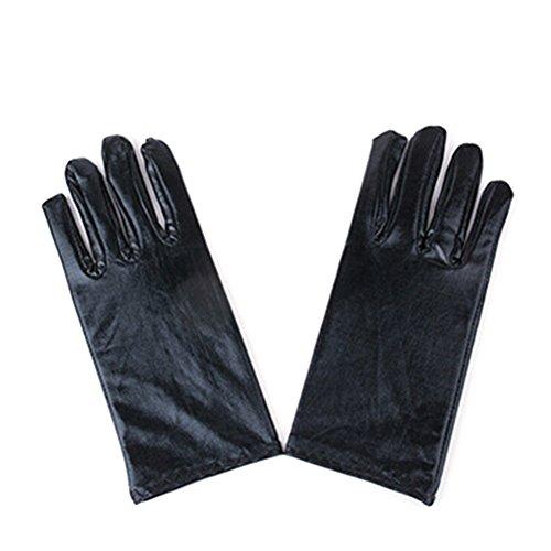 Tinksky Kostüm Handschuhe für Frauen Männer Handgelenk Länge Maskerade Halloween Kurz Kleid Handschuhe PU für Erwachsene Leistung (Schwarz)