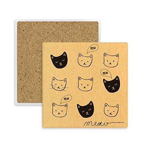 DIYthinker Weiß Schwarz-Katze-Kopf Meow Tierplatz Coaster-Schalen-Becher-Halter Absorbent Stein für Getränke 2ST Geschenk Mehrfarbig -