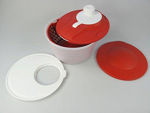 TUPPERWARE Salatschleuder Salat-Karussell 3,8L D226 Salatkarussell rot-wei/ß P 21477