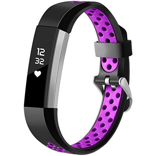 HUMENN Für Fitbit Alta HR Armband, Zwei-Farben Weich Silikon Ersatzarmband Smartwatch Sport Band für Fitbit Alta/Alta HR Herzfrequenz Fitnessaufzeichnung, Klein Schwarz/Pflaume (Inc Armband)