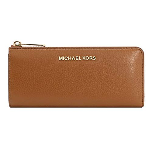 Michael Kors Jet Set Large Three Quarter Zip Around Pebbled Leather Wallet Luggage