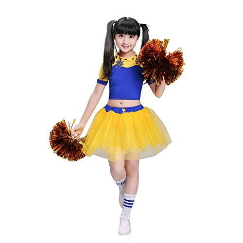 Kinder Mädchen Cheerleader Cheerleading Kostüm Uniform Karneval Fasching Party Halloween Kostüm Kleid Tutu Rock mit 2 Pompoms (Gelb, 145-155cm)