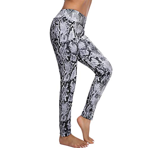 satiny Damen Sport Leggings Jogginghose Stretchhose Sport Elastisch Fitnesshose Casual Schlange Drucken Sportleggings High Waist Fitness Yogahosen Fitness Leggins