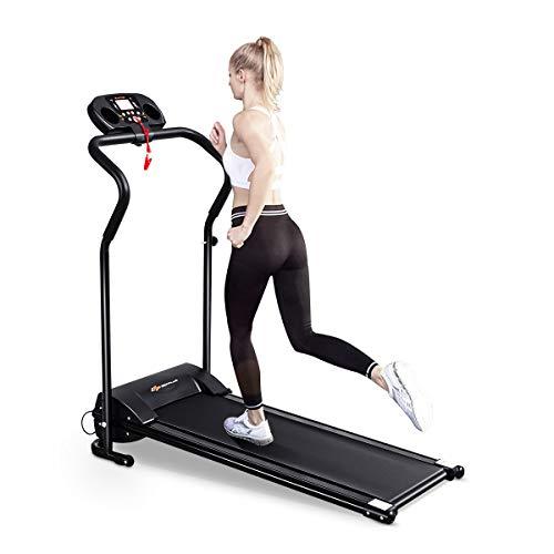COSTWAY Elektrisches Laufband für Profi und Einsteiger, Runner Fitnessgerät mit LCD-Display, Leiser Heimtrainer zusammenklappbar, Speedrunner schwarz zum Lauftraining inkl. 12 Programme 1,0-10km/h