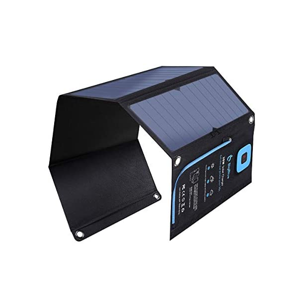 BigBlue 28W Solar Charger Foldable Outdoor Solar Powered Charger With SunPower Solar Panels Dual USB Ports for iPhone iPad Samsung Galaxy LG Cellphones and Devices 1