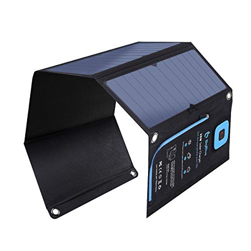 28W Charguer Solaire Pliable avec Ampèremètre Numérique, BigBlue Panneau Solaire Portable avec 2 Ports USB Compatible avec iPhone X, iPad Air 2 /mini 3, Samsung Galaxy A5 /S6 /S7 /J7 et Huawei etc.